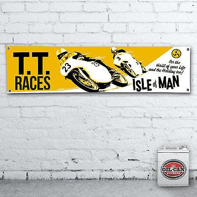 ISLE OF MAN TT RACES Banner  –  heavy duty for workshop, garage,