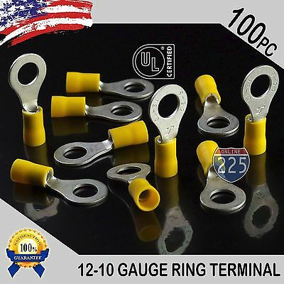 100 Pack 12-10 Gauge 516 Stud Insulated Vinyl Ring Terminal Tin Copper Core Ul