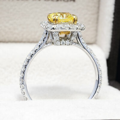 1.40 Ct. Fancy Yellow Radiant Cut Diamond Engagement Ring GIA VS2 18k NATURAL 2