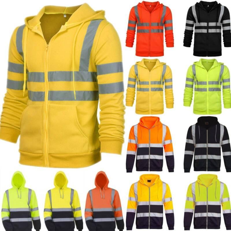Hi Vis High Visibility Men Jacket Coat Safety Work Hoody Ref