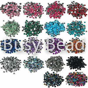 Busy-Bead-1000-x-Crystal-Flat-Back-Rhinestones-Gems-2mm-3mm-4mm-5mm-6mm