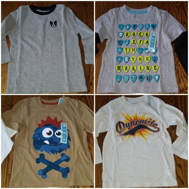 Toddler Boys 4T shirts, longsleeve- all new