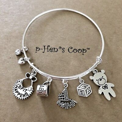 Baby Theme W #1 MAMA/Cup/Bear/Blocks/bib Expandable Charm Bracelet USA 1508