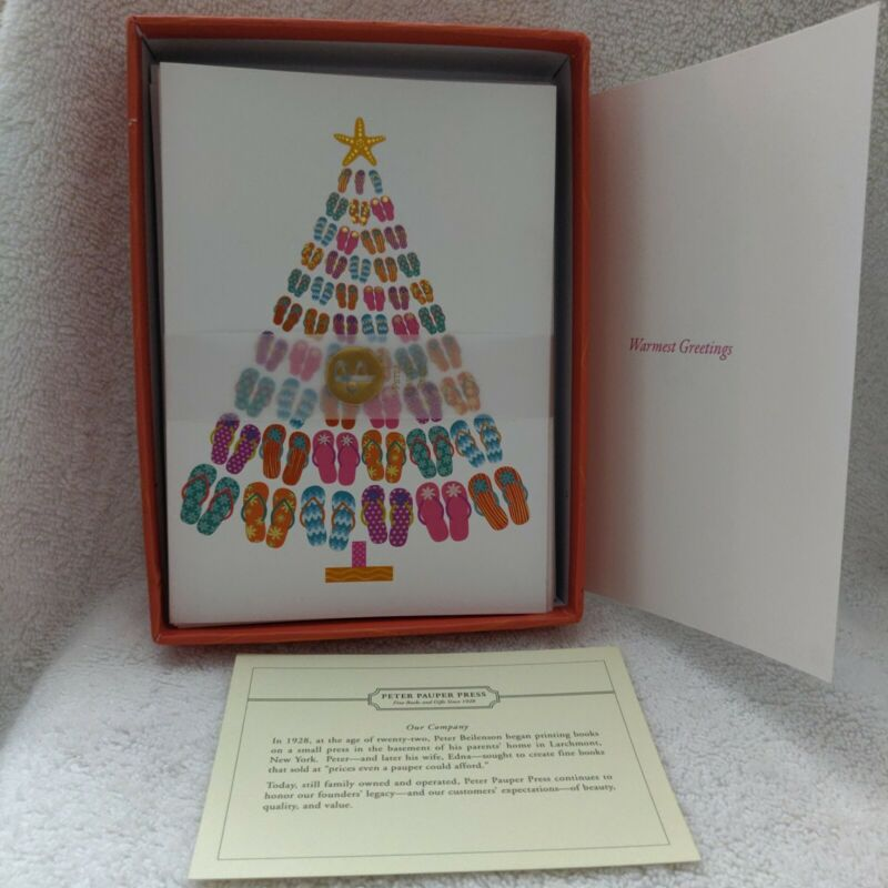 Peter Pauper Press Inc FLIP-FLOP TREE Deluxe Holiday Cards 20 Gold Foil 2014