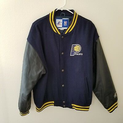 NBA Indiana Pacers Logo Athletic Varsity Wool & Leather Letterman Vintage Jacket for sale  San Francisco