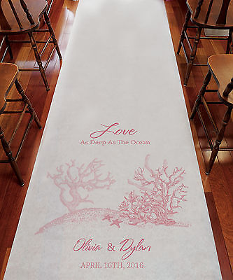 Reef Coral Beach Theme PERSONALIZED Aisle Runner Wedding Ceremony Decoration  (Personalized Wedding Aisle Runner)