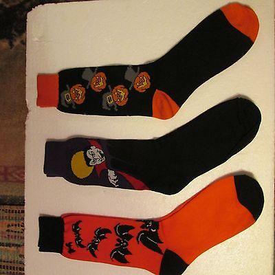 Men Halloween Socks 3 Pr Vampire Jack O Lanterns Pumpkins Bats Vtg ](Halloween Pr)