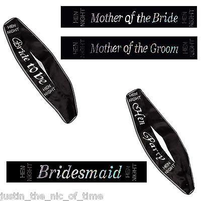 Hen Night Party Black Diamante Sashes,  Bride To Be, Bridesmaid, Mother, Hen