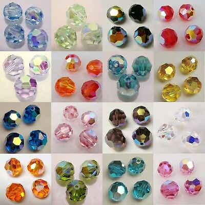 Genuine SWAROVSKI Crystal 5000 6mm Faceted Round Bead AB / Coating ~ Many Color