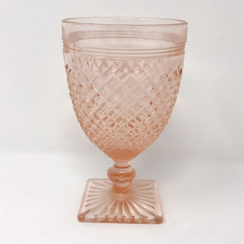 """ANCHOR HOCKING GLASS CO.-MISS AMERICA-PINK WATER GOBLET 5 1/4"""""""