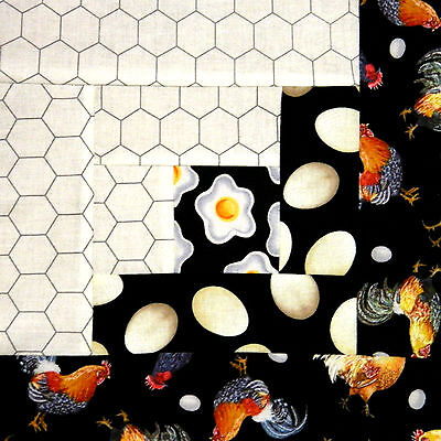 {12} Log Cabin Quilt Block { KIT } ~ Chickens ~ Barnyard