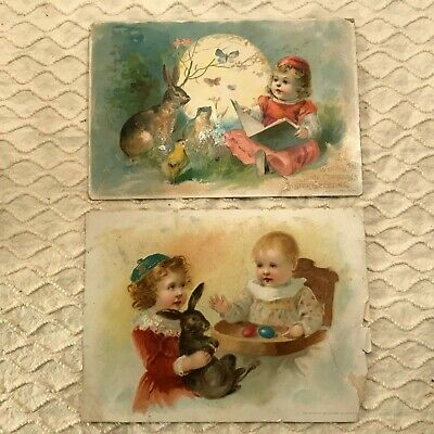 LOT OF 2 VTG Antique Victorian Easter Trade Cards Baby Girl Rabbit Frog Chick