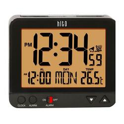 hito 3.8 Digital Battery Atomic Alarm Clock Bedside Travel Auto Time Set Auto