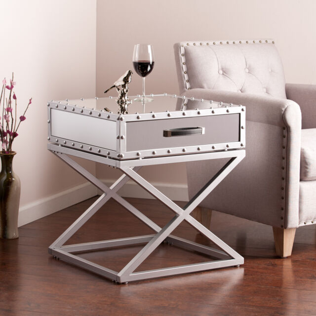 Mirrored Accent Table: Chrome Side Table Drawer Modern Industrial Design Mirrored