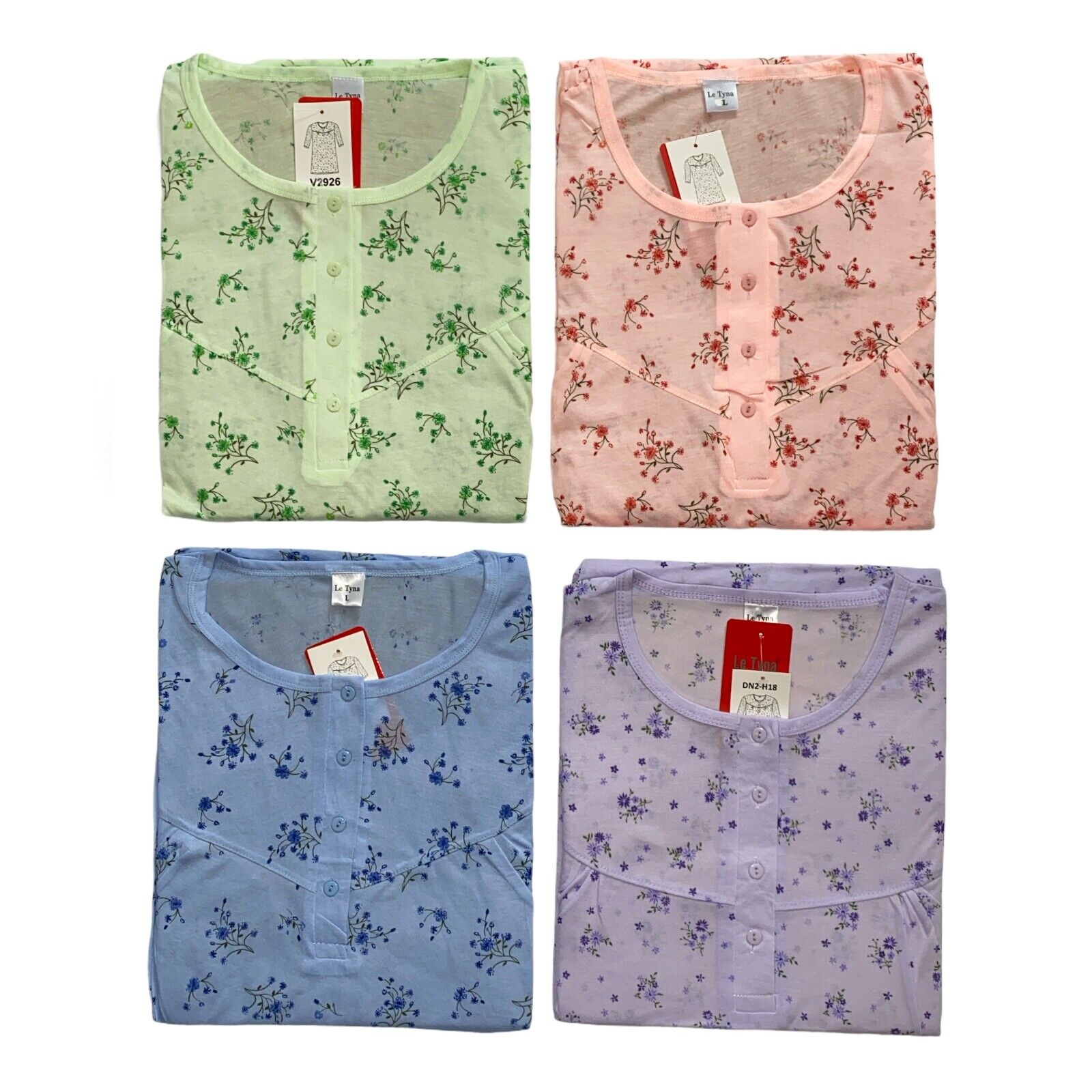Damen Nachthemd Langarm Hemd Nachtwäsche