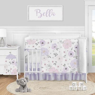 Lavender Watercolor Floral Baby Girl 5pc Nursery Crib Bedding Set by Sweet Jojo