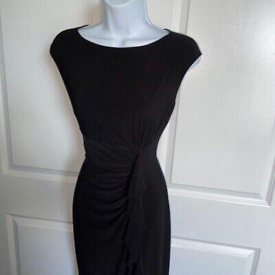 Ralph Lauren Black Sleeveless Dress Size 2 Ruffle Front Stretch Jersey Knit
