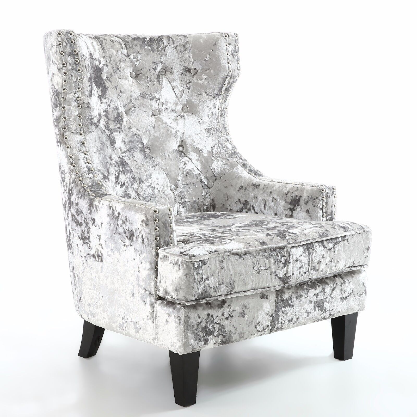 Enjoyable Details About Majesty Armchair Occasional Wing Back Accent Chair Silver Premium Crushed Velvet Bralicious Painted Fabric Chair Ideas Braliciousco