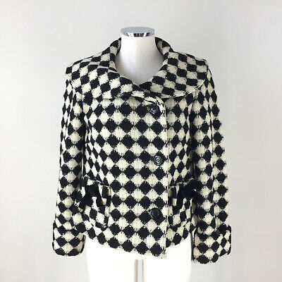 Elevenses Anthropologie S 6 black ivory houndstooth Jackie O wool coat jacket