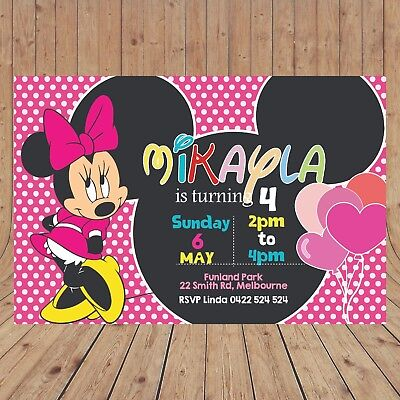 Personalised MINNIE MOUSE Kids Party Invites Invitations DIGITAL - YOU PRINT
