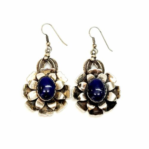 Native American Signed ND Sterling Silver Lapis Lazuli Flower Earrings #7999