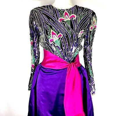 Bob Mackie Boutique Vintage Heavily Beaded Ball Gown 1980s Mardi Gras Purple NWT (Mardi Gras Ball Gowns)