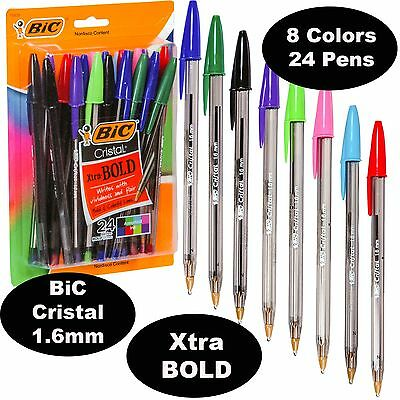 Bic Cristal 1.6 Mm Colors Xtra Bold Point 18838 Pack Of 24 Pens 8 Ink Colors