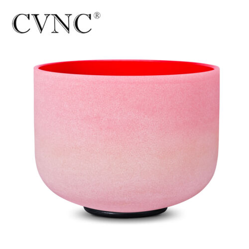 """8 """" C Root Chakra Rainbow Colored Frosted Quartz Crystal Singing Bowl+Mallet"""
