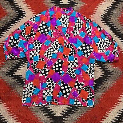 1970s Men's Shirt Styles – Vintage 70s Shirts for Guys Vintage 1970s 80s Geometric Patterned Disco Shirt Size 8 100% Silk Rare Art $29.99 AT vintagedancer.com