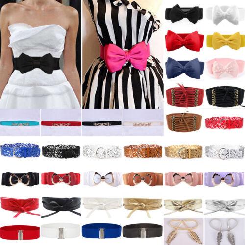 Women Elastic Bow Wide/Thin Stretch Dress Wrap Buckle Waistb