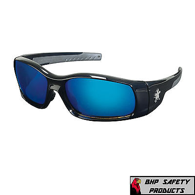 MCR CREWS SWAGGER SAFETY GLASSES SR118B BLACK FRAME/BLUE MIRROR LENS SUNGLASSES (Glasses Black Frame Mirrored Lens)