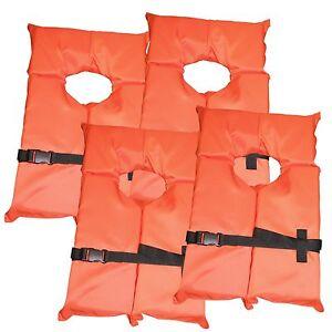 4 Pack Type Ii Orange Life Jacket Vest Adult Universal