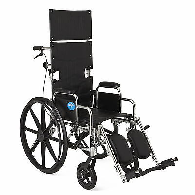 "Medline 20"" Excel Reclining Wheelchair # MDS808550 350 lb. Capacity"