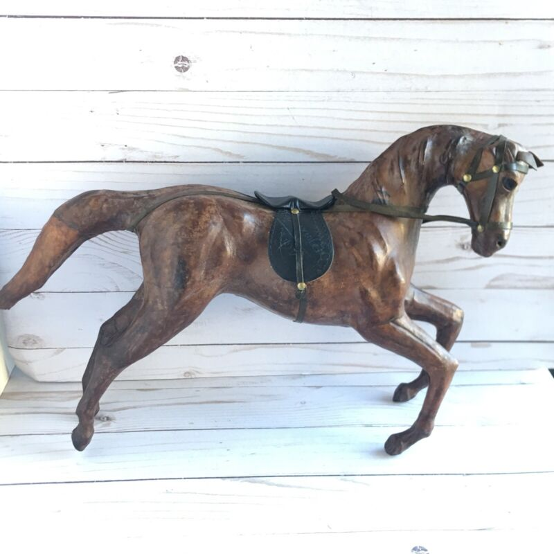 """Leather Wrapped Horse Statue Figure Glass Eyes  Large 17"""" x 11"""" Equestrian Decor"""