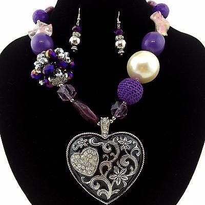 - Western Cowgirl Chunky Purple Bead Rhinestone Heart Pendant Necklace Earring