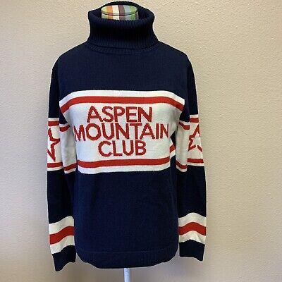 Perfect Moment Ski Aspen Red White Blue Turtleneck Merino Wool Sweater Large