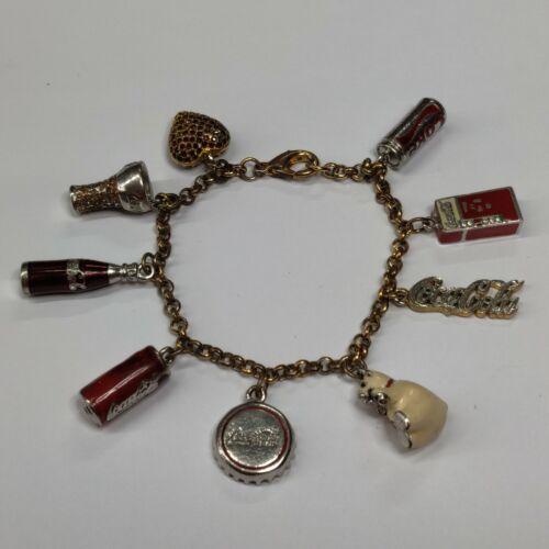 Vintage Coca-Cola Collectable 24k Gold Plated 9 Charm Bracelet Danbury