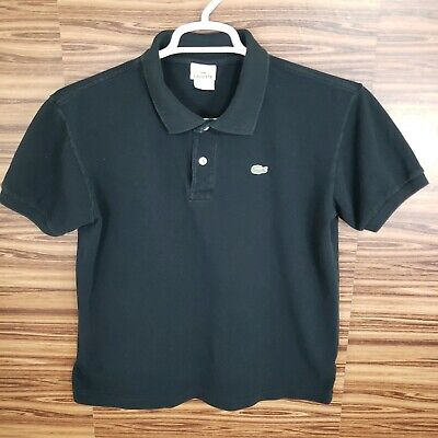 Lacoste Mens Size 4 Black Polo Short Sleeve Solid Alligator Golf