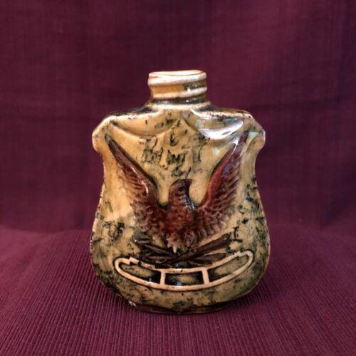 Antique Majolica Whiskey Nip Flask