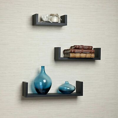 3pc Brown Wood Floating U Shelves Set Wall Mounted Display Home Decor Storage  Wall Shelf Set
