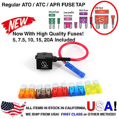 Add-a-Fuse ATO Standard FUSE W//5A Fuse Tap Hardwire RADAR Dash Cam extra outlets