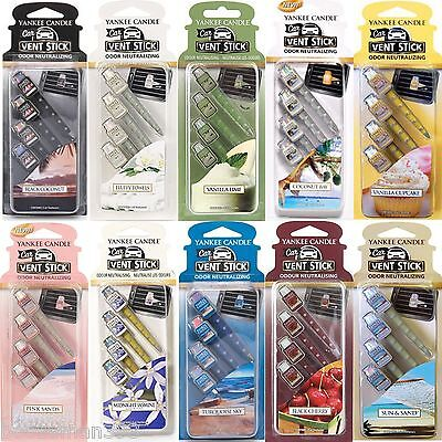 Yankee Candle Vent Sticks Car Air Freshener 4 Packs - Choose From All 20 Scents