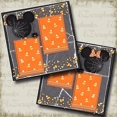 DISNEY Candy Corn Mouse - 2 Premade Scrapbook Halloween Pages - EZ Layout 2365](Halloween Scrapbooking Layouts)
