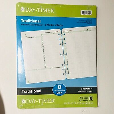 Day-timer Undated Daily 2-month Planner 8.5x11 Traditional Refill Size 5