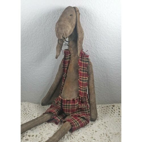 Primitive Rabbit Doll, Farmhouse Decor, Primitive Bunny, Primitive Animal Doll