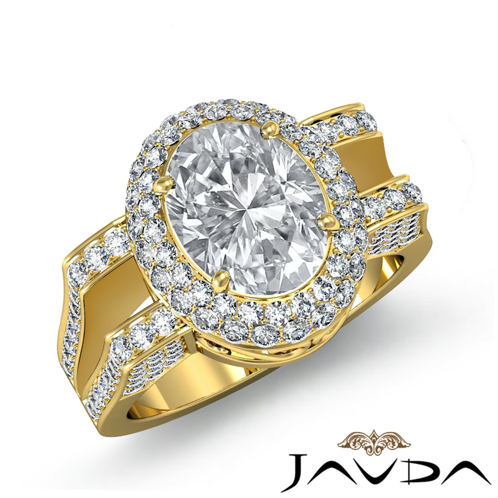 1.9ctw Gala Halo Split Shank Oval Diamond Engagement Ring GIA E-VS2 White Gold 7