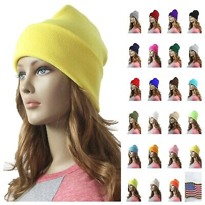 Men Women Plain Slouchy Knit Cuff Beanie Cap Ski Winter Cap Skull Unisex Hat