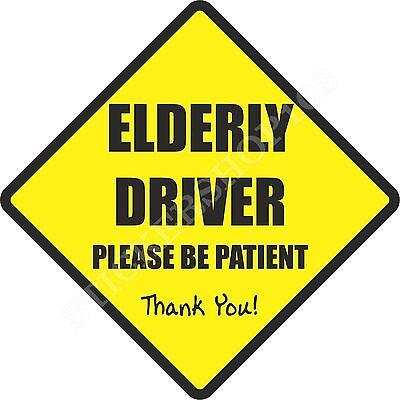 Elderly Driver Car Sticker Saftey Bumper Car Sticker, Baby On Board, Decal, Sign