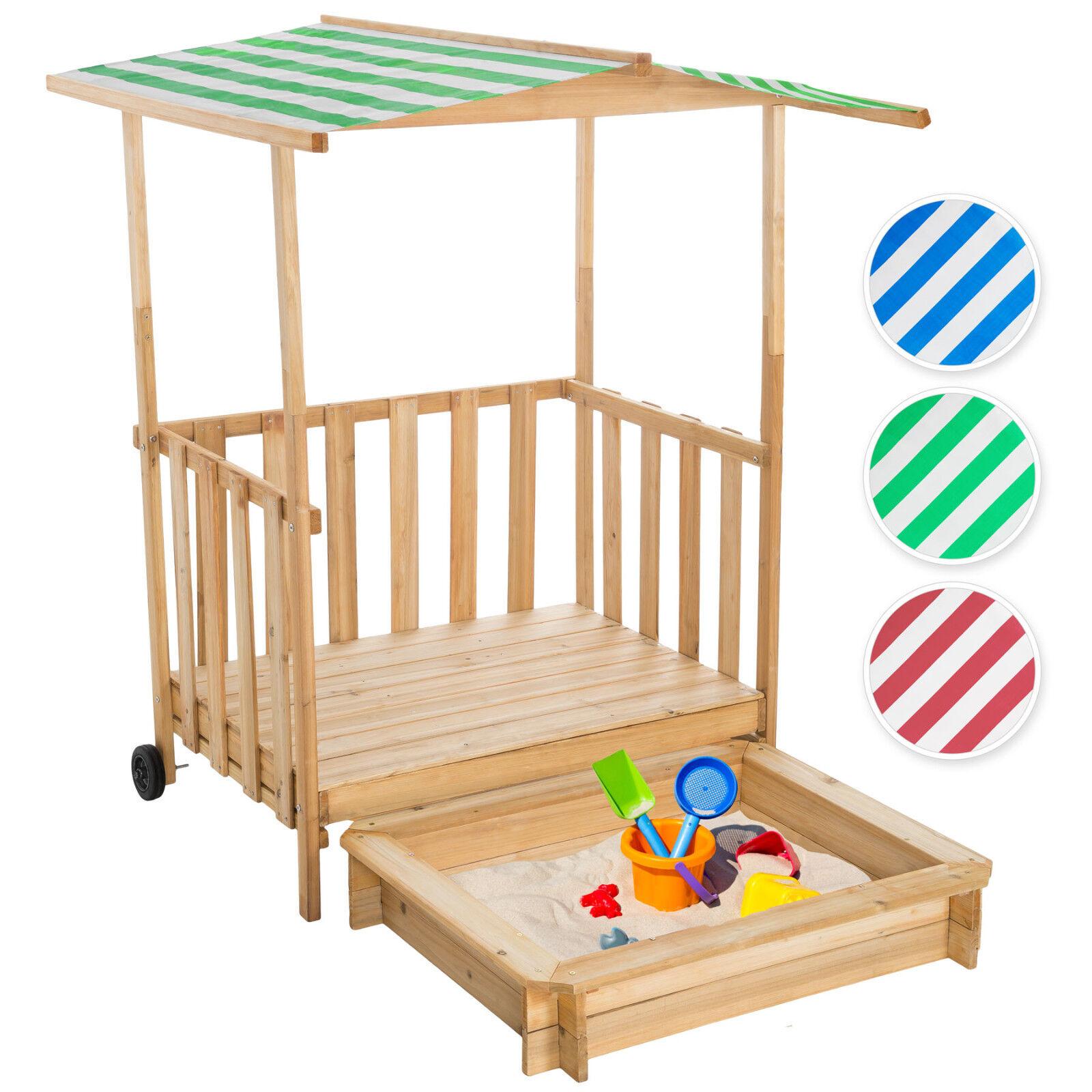 Sandkasten Spielhaus Spielveranda Holz Sonnenschutz Sandbox + Dach Deckel