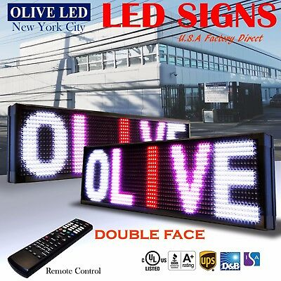 Olive Led Sign 3c Rwp 2face 15x40 Ir Programmable Scroll. Message Display Emc